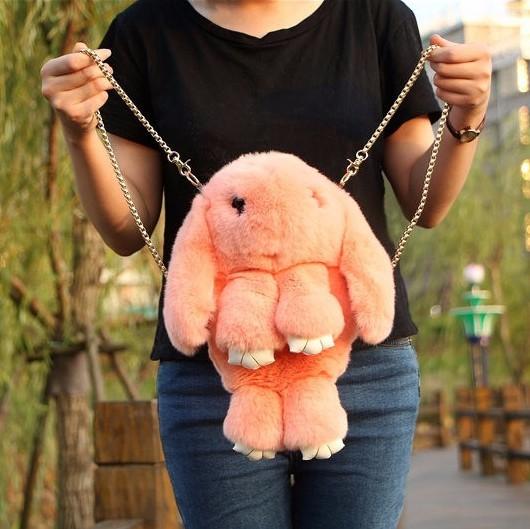 Для девочек и девушек Сумка-рюкзак кролик (зайка) из меха bunny_orange.jpg